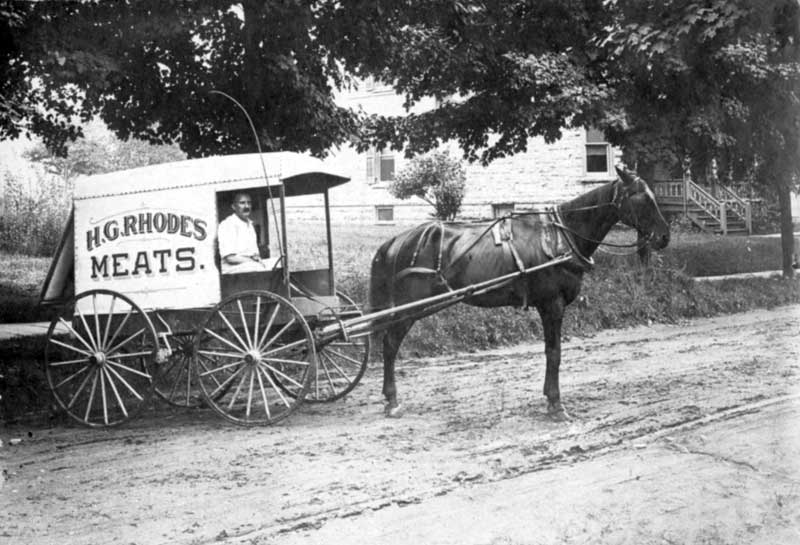 H.G. Rhodes Meats made deliveries in 1913. The butcher shop was at 517 Main St. in Stroudsburg.