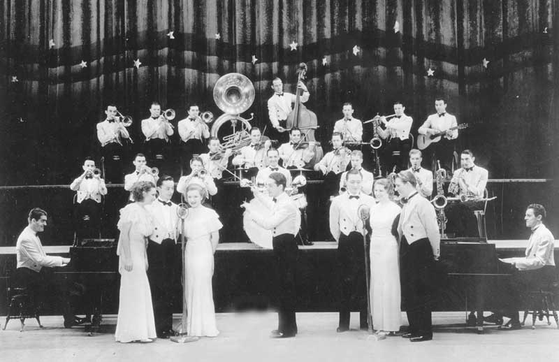 Fred Waring's Pennsylvanians perform on their Old Gold radio show, 1933.