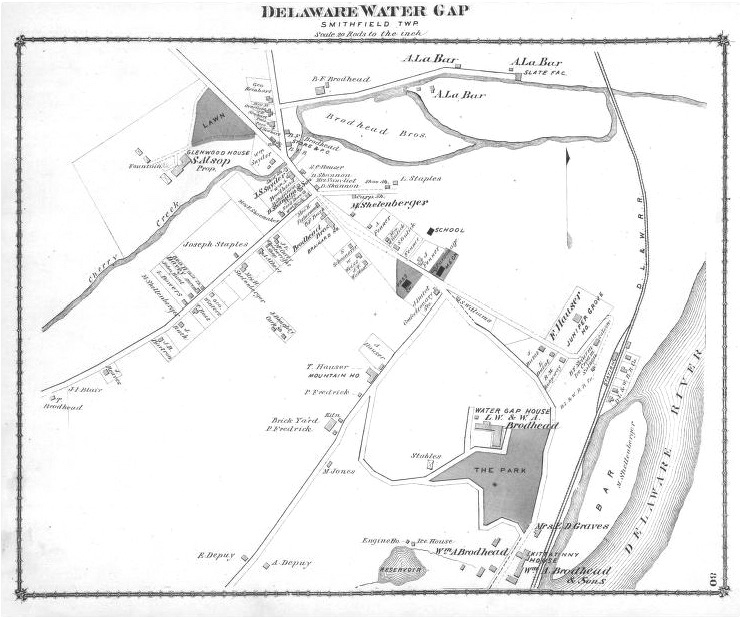 1875 Delaware Water Gap Map
