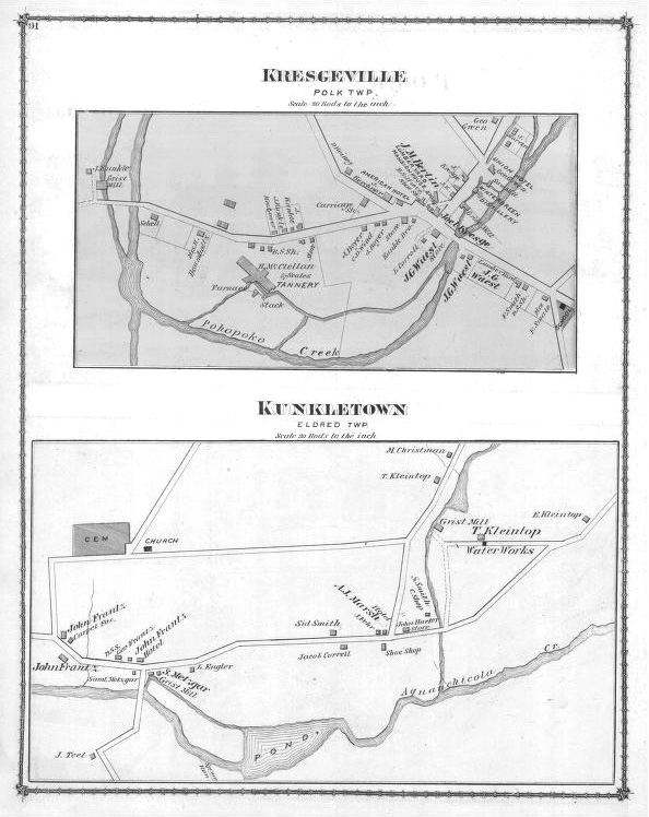 1875 Kresgeville & Kunkletown Map