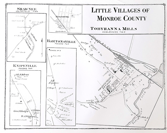 1875 Little Villages of Monroe County Map