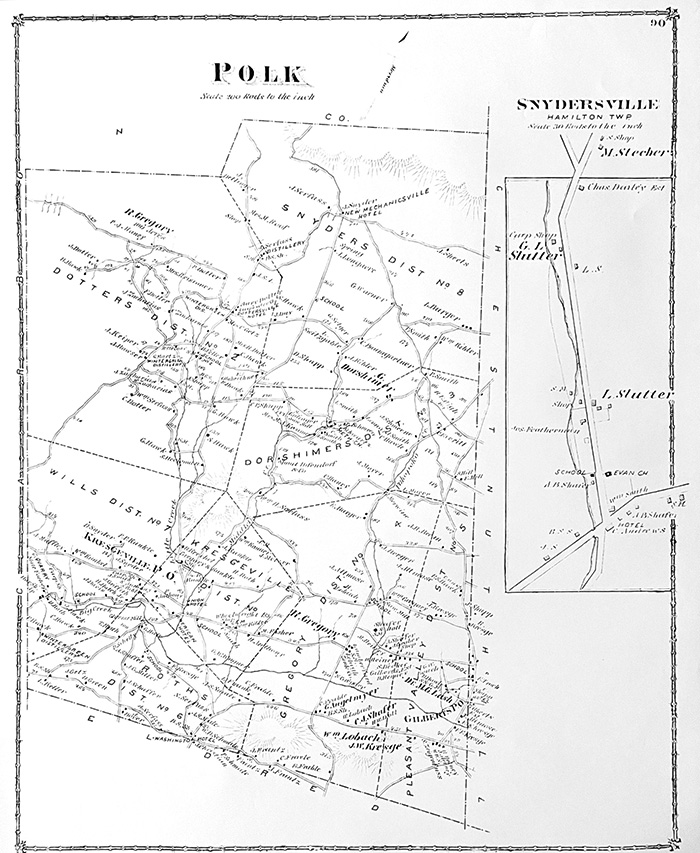 1875 Polk Twp/Snydersville Map