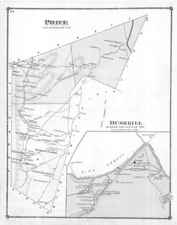 1875 Price Twp, Bushkill Map