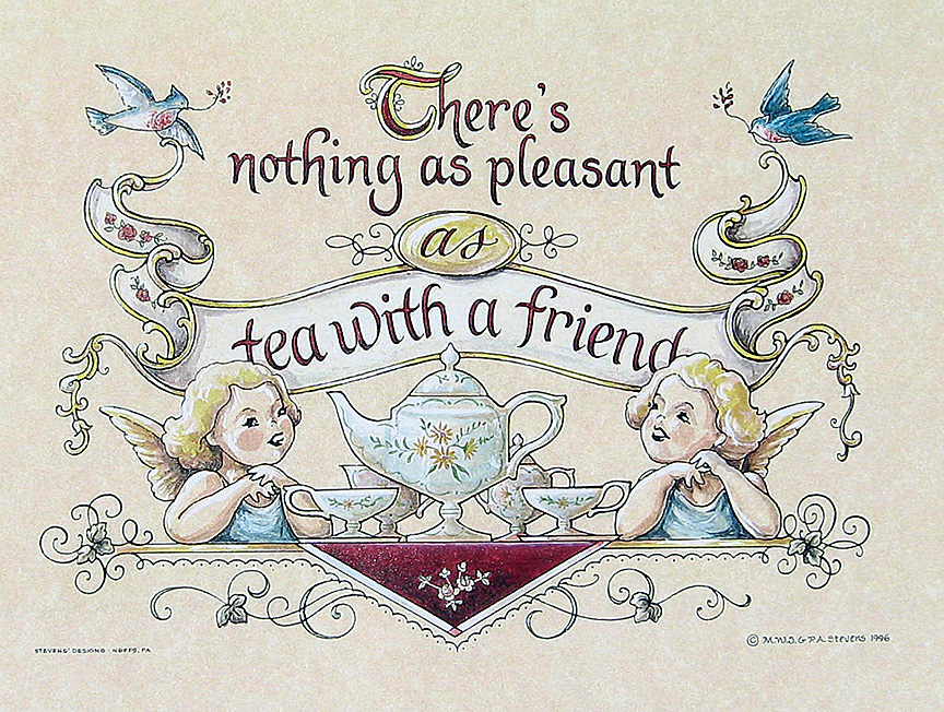 'Tea With Friend' Fraktur (horizontal)