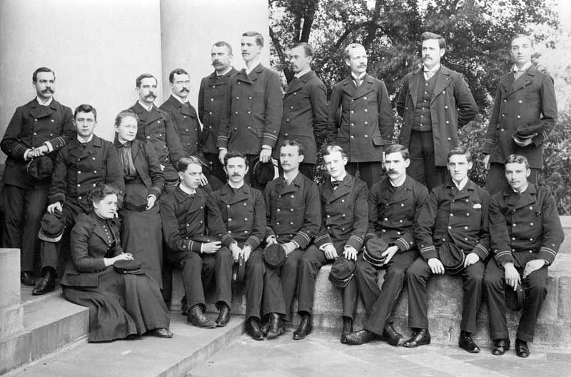 Dr. Mary Grenwald Erdman of Stroudsburg (seated left) with her medical class of 1872 at Blockly Hospital in Philadelphia, now Pennsylvania General Hospital.