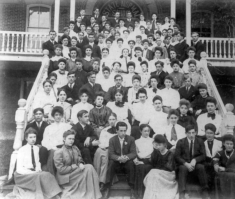 Students on the steps of the East Stroudsburg State Normal School.
