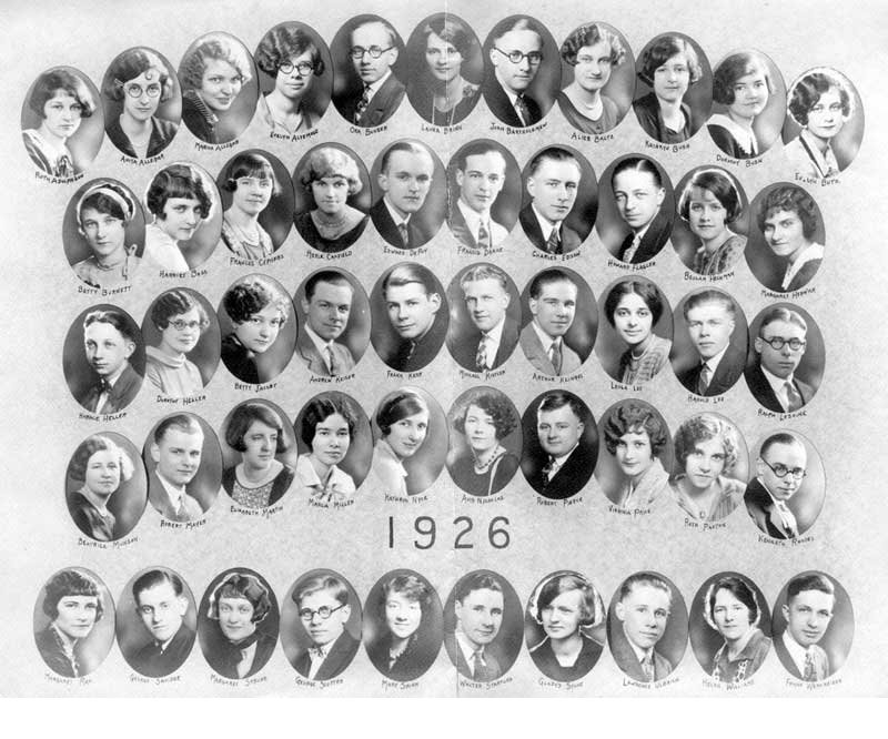 Stroudsburg High School Class of 1926, the last to graduate from the Thomas Street building.