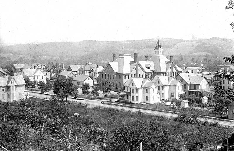 Rear of Stroudsburg High School, before 1905, from Crowley's Hill, looking south. The front of the school was on Thomas Street.