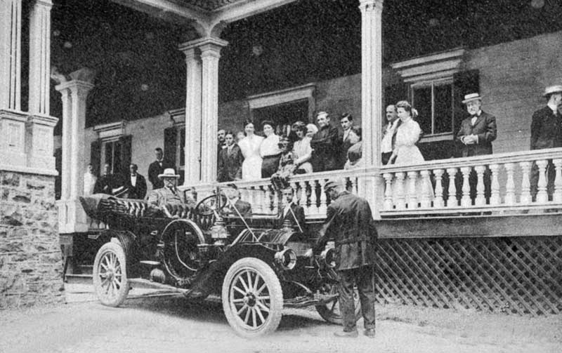 President Teddy Roosevelt visiting the Water Gap House, Delaware Water Gap, circa 1910.