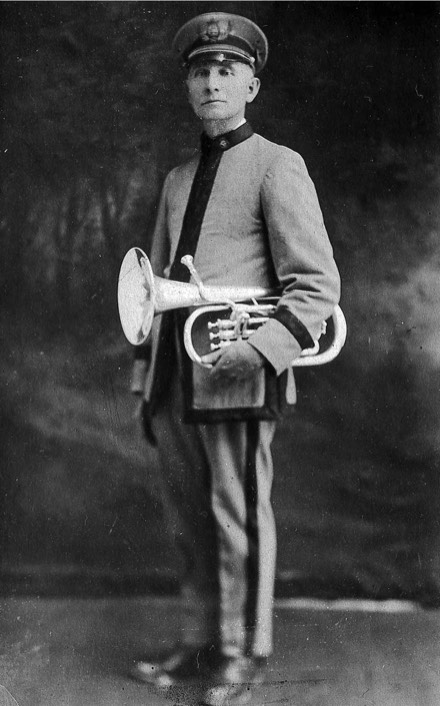 C.B. Huff in his band uniform.