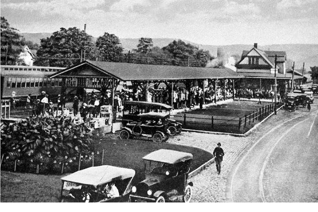 The Delaware, Lackawanna and Western train station along Crystal Street in East Stroudsburg, early 1900s.