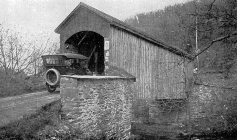 Covered bridge at Bartonsville, circa 1920.