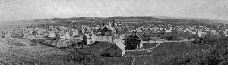 A view of Stroudsburg from Crowley's Heights south of town, circa 1905.